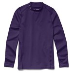 Under Armour Youth Boys ColdGear Evo Fitted Long Sleeve Mock Shirt, Purple/Steel, Small