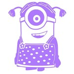 Minion Girly (Vinyl Sticker Decal for Car Bumper, Windows, Laptop, Wall, Furniture) (Purple, 6″x5″)