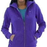 Nike Women's Classic Fleece Swoosh Full Zip Hoodie (Medium, Purple)