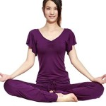 Womens 2Pce Lotus Leaf Soft Loose Fitness Yoga Gym Dance Outfit Small Purple