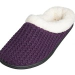"Beverly Rock Womens ""Sweater"" Fleece Lined Clog Slippers (Purple) L"