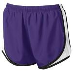 Ladies Moisture-Wicking Track & Field Running Shorts. Purple/ White/ Black