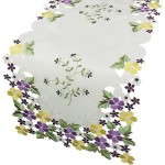 Xia Home Fashions Fancy Flowers Embroidered Cutwork Spring Table Runner, 16 by 34-Inch, Purple