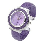 Top Plaza Fashion Women's Cuff Watch, Round Case PU Leather Band, Purple