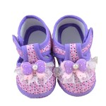 DZT1968® Baby Girl Cloth Round Dot Soft Sole Prewalker Mary Jane Shoes With Bowknot (6~10 Months, Purple)