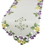 Xia Home Fashions Fancy Flowers Embroidered Cutwork Spring Table Runner, 15 by 72-Inch, Purple