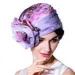 June's Young Girl Hats Lady Fashion Hats for Church Brimless Purple Flower Soft Fabric (Purple Hat)