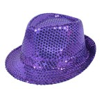 Colorful Sequined Fedora Hat (Purple)
