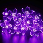 ANNT® Solar Powered 16.4ft 50 LED Peach Blossom String Lights for Gardens, Lawn, Patio, Christmas Trees, Weddings, Parties Decorations(50 LED, purple)