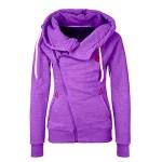 Chicnova Women Side Folded with Zip Hoodies Jumper Spring Sport Jacket Coat Pullovers, Medium, Purple
