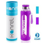 32 Ounce Glass Water Bottle by Kanrel® (Purple, 32 oz) Large, BPA Free, Eco Friendly, Leak Proof, Reusable, Best, Dishwasher Safe, Easy Clean, Designer, Sports, Travel, Yoga, Gym, Cool Birthday Gifts