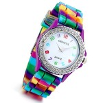 Lancardo Analog Easy Read Wrist Watch with Colorful Pointer Jelly Rainbow Silicon Band (Purple)