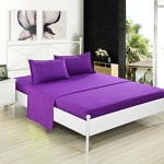 Clearance, Kuality Bedding 4-Piece Bed Sheet Set (1 Fitted Sheet, 1 Flat Sheet, 2 Pillow Cases) Easy Care Anti-Wrinkle Stain & Fade Resistant, Queen Size, Dark Purple