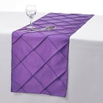 Remedios 12×108 Inch Pintuck Taffeta Table Runner Wedding Decoration Purple