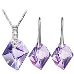 Qianse White Gold Plated Jewelry Sets Made with Purple SWAROVSKI Elements Crystal
