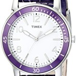 Timex Women's T2P052KW Ameritus Sport White Dial, Petunia Croco Patterned Leather Strap Watch