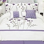 Fancy Collection 7-pc Embroidery Bedding Off White Purple Lavender Comforter Set (Queen)