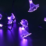 LUCKLED Flower Solar String Lights, 16ft 30LED Morning Glory Fairy Decorative Lighting for Indoor/Outdoor Decor, Garden, Home, Patio, Porch, Party and Holiday Decorations(Purple)