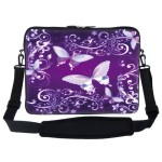 15 15.6 inch Purple Butterfly Design Laptop Sleeve Bag Carrying Case with Hidden Handle & Adjustable Shoulder Strap for 14″ 15″ 15.6″ Apple Macbook, Acer, Asus, Dell, Hp, Sony, Toshiba, and More