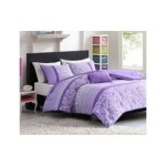 Full Queen Purple Polka Dot Paisly Floral Comforter Set Girls Teen Dorm Bedding Set