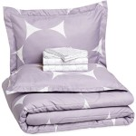 AmazonBasics 7-Piece Bed-In-A-Bag – Full/Queen, Purple Mod Dot