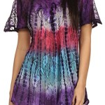 Sakkas 14783 – Dina Relaxed Fit Sequin Tie Dye Embroidery Cap Sleeves Blouse / Top – Purple – OS
