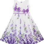 Sunny Fashion Girls Dress Purple Rose Flower Double Bow Tie Party 11-12