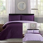 New King / Cal King Bed Luxury 3-piece Purple Reversible Bedspread Coverlet set Solid Embossed Bedding
