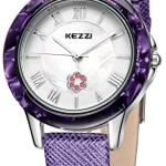 Kezzi Women's Watches K1177 Fashion Luxury Quartz Analog Crystal Pearl Purple Leather Watch
