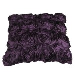 VivReal Purple Satin Rose Flower Square Pillow Cushion Pillowcase Case Cover