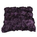 VivReal Purple Satin Rose Flower Square Pillow Cushion Pillowcase Case Cover