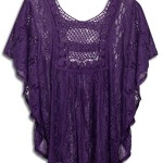 eVogues Plus Size Sheer Crochet Lace Poncho Top Purple – 2X
