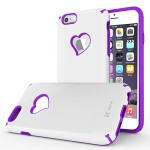 iPhone 6S Plus Case, Vena [vLove] Heart-Shape Rear Window Dual Layer Hybrid Bumper Cover for Apple iPhone 6 Plus 2014 / 6S Plus 2015 (5.5″-inch)- White / Purple
