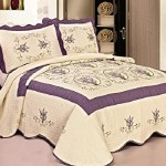 3pcs High Quality Fully Quilted Embroidery Quilts Bedspread Bed Coverlets Cover Set , Queen King (Beige/Purple)