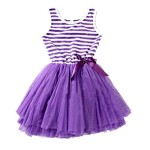 Weixinbuy Kids Girl Cotton Blend Puffy Bow Sundress Stripe Skirt Purple 4-5Y