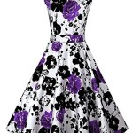 BeautyCreator Women's 1950s Hepburn Vintage Wiggle Floral Cocktail Dress (L, Purple Floral)