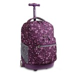 J World New York Sunrise Rolling Backpack, Garden Purple, One Size