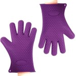 Binwo Heat Resistant BBQ Gloves – Pair of Best Silicone Pot Holders and Oven Mitts for Kitchen Cooking Baking Barbecue-Protective Your Hands-Purple