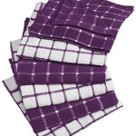 DII 100% Cotton, Machine Washable, Basic Everyday Kitchen Dish Cloth, Windowpane Design, 12 x 12″ Set of 6- Eggplant