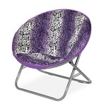 Rock Your Room Leopard Faux Fur Saucer Chair, One Size, Purple/White