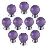 Generic 30mm Round Glass Clear Cabinet Knob Drawer Pull Handle Kitchen Door Color Purple(Pack of 10)