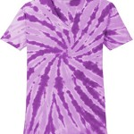 Koloa Surf(tm) Ladies Colorful Tie-Dye V-Neck T-Shirt-Purple-2XL