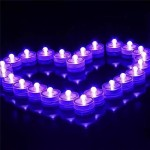 12pcs/lot Romantic Waterproof Submersible LED Tea Light Electronic Candle Light for Wedding Party Christmas Valentine Decoration (Purple)