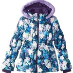 Big Chill Big Girls' Puffer Coat with Floral Print, Purple, 7/8