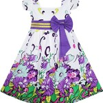 FA11 Sunny Fashion Little Girls' Dress Bow Tie Purple Floral Sleeve Princess 2-3