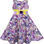 FX71 Sunny Fashion Girls Dress Sleeveless Paisley Flower Print Bow Tie Purple Size 4