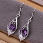 Elegant Fashion Jewelry 925 Silver Plated Stud Dangle Earings Eardrop Shell With Purple Zircon