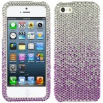 Purple Silver Clear Bling Rhinestone Crystal Case Cover For Apple iPhone 5 5S