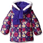 London Fog Little Girls' Print Chic Puffer Coat with Scarf, Purple Flor, 5/6