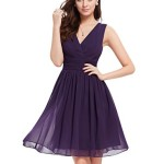 Ever Pretty Womens Sleeveless V Neck Knee Length Party Dress 6 US Purple